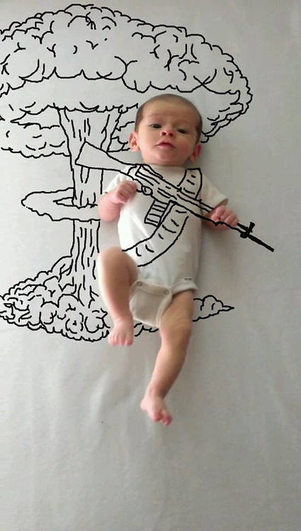 Baby boom!  pictures showing her baby son as anything from a soldier to Popeye<br />