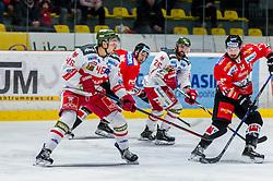 13.01.2019, Ice Rink, Znojmo, CZE, EBEL, HC Orli Znojmo vs HCB Suedtirol Alperia, 38. Runde, im Bild v.l. Ivan Deluca (HCB Sudtirol Alperia) Jakub Stehlik (HC Orli Znojmo) Angelo Miceli (HCB Sudtirol Alperia) C.J. Stretch (HC Orli Znojmo) // during the Erste Bank Eishockey League 38th round match between HC Orli Znojmo and HCB Suedtirol Alperia at the Ice Rink in Znojmo, Czechia on 2019/01/13. EXPA Pictures © 2019, PhotoCredit: EXPA/ Rostislav Pfeffer