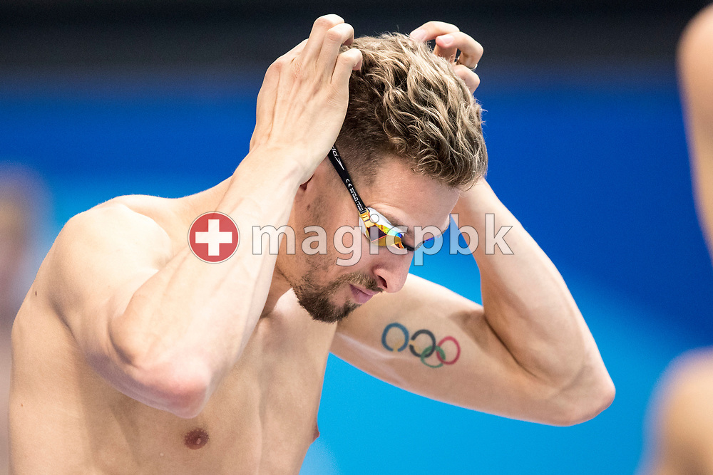 Pieter TIMMERS of Belgium adjusts his swim goggles during a training session during the swimming events of the 17th Fina World Championships held at the Duna Arena in Budapest, Hungary, Saturday, July 22, 2017. (Photo by Patrick B. Kraemer / MAGICPBK)