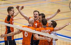 05-06-2016 NED: Nederland - Duitsland, Doetinchem<br /> Nederland speelt de laatste oefenwedstrijd ook in  Doetinchem en speelt gelijk 2-2 in een redelijk duel van beide kanten / Daan van Haarlem #1, Kay van Dijk #12, Jeroen Rauwerdink #10
