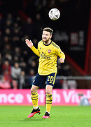 Shkodran Mustafi (20) of Arsenal heads the ball during the The FA Cup match between Bournemouth and Arsenal at the Vitality Stadium, Bournemouth, England on 27 January 2020.