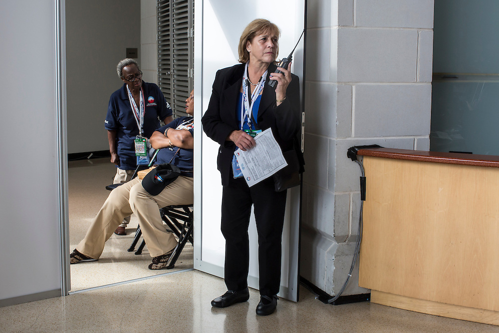 A security guard inside the Democratic National Convention on Tuesday, September 4, 2012 in Charlotte, NC.