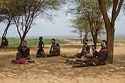 group of Karo tribe women and children. Omo Valley, Ethiopia