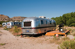 USA, Utah, classic Airstream travel trailers available as lodging at the Shooting Star Drive-In in Escalante.