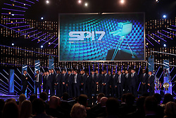 Presenter Gary Lineker (left) interviews England Under 17's Rhian Brewster alongside members of England's U17's, U19's and U20's national squads during the BBC Sports Personality of the Year 2017 at the Liverpool Echo Arena.