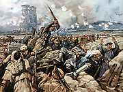World War I: Battle of Loos. Scottish regiments, with bayonets drawn, charging and overwhelming German trenches