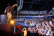 Lupe Fiasco performing on his Generation LASER Tour at the Chaifetz Arena on September 29, 2011. Photo by Todd Owyoung.