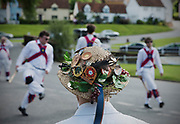 Thaxted Morris Weekend 3-4 June 2017<br />A meeting of member clubs of the Morris Ring celebrating the 90th anniversary of the founding of the Thaxted Morris Dancing side or team in Thaxted, North West Essex, England UK. <br />Dancing outside the Fox pub in Finchingfield essex.<br /><br />Hundred of Morris dancers from the UK and this year the Silkeborg side from Denmark spend most of Saturday dance outside pubs in nearby villages where much beer is consumed. In the late afternoon all the sides congregate in Thaxted where massed dancing is perfomed along Town Street. As darkness falls across Thaxted the spell binding Abbots Bromley Horn Dance is performed to the sound of a solo violin in the dark.