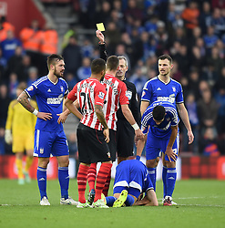 Southampton's Morgan Schneiderlin gets the yellow for a foul on Ipswich Town's Darren Ambrose - Photo mandatory by-line: Paul Knight/JMP - Mobile: 07966 386802 - 04/01/2015 - SPORT - Football - Southampton - St Mary's Stadium - Southampton v Ipswich Town - FA Cup Third Round