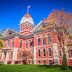 Old Crown Point Courthouse in Crown Point, Indana, The Lake County Courthouse was built in 1878 and is nicknamed The Grand Old Lady. The courthouse architecture is Romanesque and Georgian. Today it's used for events and has a ballroom and restaurants.