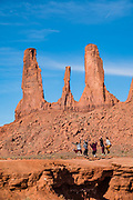 Three Sisters rock formation in Monument Valley Navajo Tribal Park, Arizona, USA.