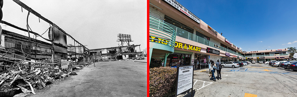 Before and after photos of the mini mall on the corner of Western Ave and 6th Street in Koreatown.<br /> <br /> 25 before and after LA92 photo project.