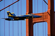 Blue Angels Jet As Seen In Flight Passing In Front Of The Golden Gate Bridge