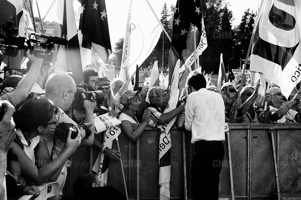 Maurizio Martina. Supporters of Democratic Party (PD), Italian centre-left political party, wave flags during a demonstration against the current government policies on September 30, 2018 in Rome, Italy. Christian Mantuano / OneShot