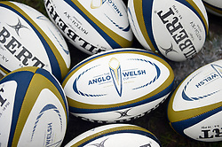 A general view of Anglo-Welsh Cup branded balls - Mandatory byline: Patrick Khachfe/JMP - 07966 386802 - 30/03/2018 - RUGBY UNION - Kingsholm Stadium - Gloucester, England - Bath Rugby v Exeter Chiefs - Anglo-Welsh Cup Final