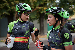 Rachele Barbieri & Sheyla Gutierrez talk about how the race played out at Gran Premio Bruno Beghelli 2017 - a 80 km road race, in Monteveglio, Italy on October 1, 2017. (Photo by Sean Robinson/Velofocus.com)