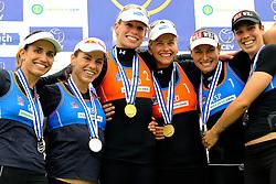 03-06-2012 VOLLEYBAL: EK BEACHVOLLEYBAL FINAL: SCHEVENINGEN<br /> (L-R) Vasiliki Arvaniti, Maria Tsiartsiani, Sanne Keizer, Marleen van Iersel, Rocio Gomez, Patricia Barrio Martin<br /> &copy;2012-FotoHoogendoorn.nl