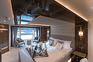 An interior shot of owners suite aboard the Sunseeker 131 at the London Boat Show 2016, the largest vessel ever to attend the show.<br /> Picture date: Friday January 8, 2016.<br /> Photograph by Christopher Ison &copy;<br /> 07544044177<br /> chris@christopherison.com<br /> www.christopherison.com