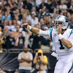 Dec 6, 2015; New Orleans, LA, USA; Carolina Panthers quarterback Cam Newton (1) throws against the New Orleans Saints during the second quarter of a game at Mercedes-Benz Superdome. Mandatory Credit: Derick E. Hingle-USA TODAY Sports