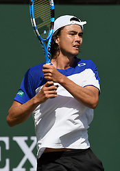 March 11, 2018 - Indian Wells, CA, U.S. - INDIAN WELLS, CA - MARCH 11: Taro Daniel (JPN) in action in the second set of a match played during the BNP Paribas Open played on March 11, 2018 at the Indian Wells Tennis Garden in Indian Wells, CA. (Photo by John Cordes/Icon Sportswire) (Credit Image: © John Cordes/Icon SMI via ZUMA Press)