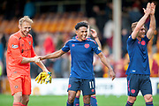Demetri Mitchell (#11)  of Heart of Midlothian and Zdenek Zlamal (#1) of Heart of Midlothian celebrate after Hearts win the Ladbrokes Scottish Premiership match between Motherwell and Heart of Midlothian at Fir Park, Motherwell, Scotland on 15 September 2018.
