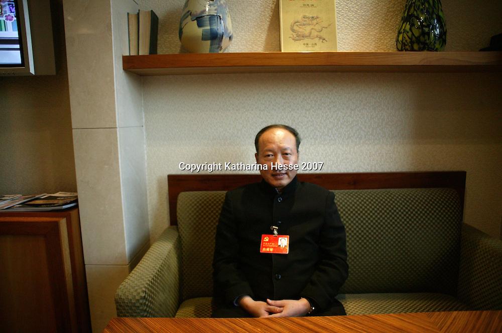 BEIJING, OCT.-20:  Chen Feng, CEO der HNA Group ( Hainan Airlines) im Hotel der Parteidelegierten in Peking, China..Chen nimmt am 17. National Kongress der Kommunistischen Partei Chinas teil.