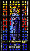 Stained glass image of St. Francis Xavier from Allouez Cemetery in Green Bay. (Photo by Sam Lucero)