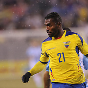 Gabriel Achilier, Ecuador, in action during the Argentina Vs Ecuador International friendly football match at MetLife Stadium, New Jersey. USA. 31st march 2015. Photo Tim Clayton