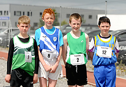 Mark Ward Islaneady, Enda Jennings Claremorris, Colin Hastings Westport and Sean Kildea Killalla competing in the boys U14 long jump at the Community Games.<br /> Pic Conor McKeown
