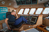 wheelhouse of a Dutch fishing vessel fishing on the Northies for sole and flounder