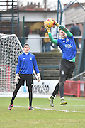 Bury Goalkeeper, Ian Lawlor warms up during the Sky Bet League 1 match between Oldham Athletic and Bury at Boundary Park, Oldham, England on 23 January 2016. Photo by Mark Pollitt.