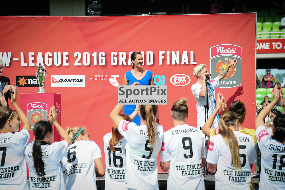 Jessica Fishlock (c) of Melbourne City FC Women during the presentation at the end of the Westfield W-League 2015/16 Grand Final. Melbourne City FC Women v Sydney FC Women at Aami Park on January 31st 2016 - © Mark Avellino | SportPix.org.uk Victory to Melbourne City 4:1