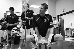 28 May 2007: Duke Blue Devils defenseman Casey Carroll (37) pregame in the locker room before playing Johns Hopkins in the NCAA Championship at M&T Stadium in Baltimore, MD.