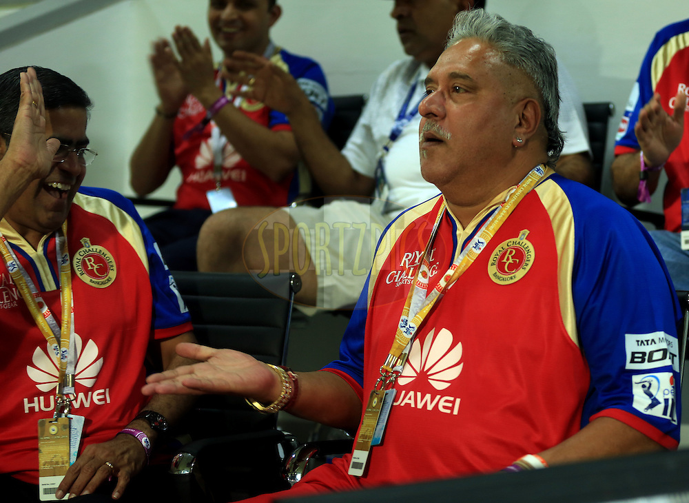 Vijay Mallya owner of Royl Challngers Banglore during match 11 of the Pepsi Indian Premier League 2014 between the The Royal Challengers Bangalore and the Kolkata Knight Riders  held at the Sharjah Cricket Stadium, Sharjah, United Arab Emirates on the 24th April 2014<br /> <br /> Photo by Sandeep Shetty / IPL / SPORTZPICS