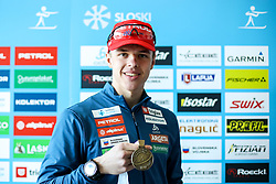 Alex Cisar with medal at press conference of Slovenian Ski association after IBU Youth & Junior World Championships Biathlon 2020 Lenzerheide, on February 4, 2020 in Zavarovalnica Triglav, Ljubljana, Slovenia. Photo by Matic Klansek Velej / Sportida