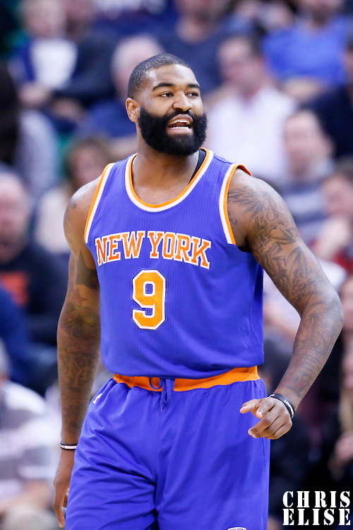 09 December 2015: New York Knicks forward Kyle O'Quinn (9) reacts during the Utah Jazz 106-85 victory over the New York Knicks, at the Vivint Smart Home Arena, Salt Lake City, Utah, USA.