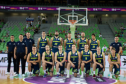 Team of Slovenia during basketball match between Slovenia and Spain in Round #5 of FIBA Basketball World Cup 2019 European Qualifiers, on June 28, 2018 in SRC Stozice, Ljubljana, Slovenia. Photo by Urban Urbanc / Sportida