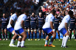 The USA team watch the Samoa team perform their pre-match haka - Mandatory byline: Patrick Khachfe/JMP - 07966 386802 - 20/09/2015 - RUGBY UNION - Brighton Community Stadium - Brighton, England - Samoa v USA - Rugby World Cup 2015 Pool B.