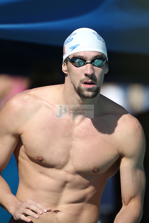 SANTA CLARA, CA - JUNE 17:  Michael Phelps prepares to swim during day 2 of the Santa Clara International Grand Prix at George F. Haines International Swim Center on June 17, 2011 in Santa Clara, California.  (Photo by Jed Jacobsohn)