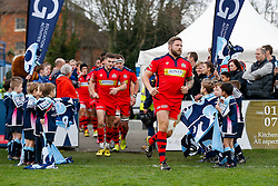 Bristol Rugby Hooker Chris Brooker (capt) leads his side as they  run out for the start of the game - Mandatory byline: Rogan Thomson/JMP - 19/12/2015 - RUGBY UNION - Goldington Road - Bedford, England - Bedford Blues v Bristol Rugby - B&I Cup.