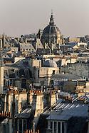 France . Paris 8th district . elevated view on Paris quartier latin and the val de Grace dome , left bank roofs , view from Citadines apart' hotel  Saint Germain  Grace