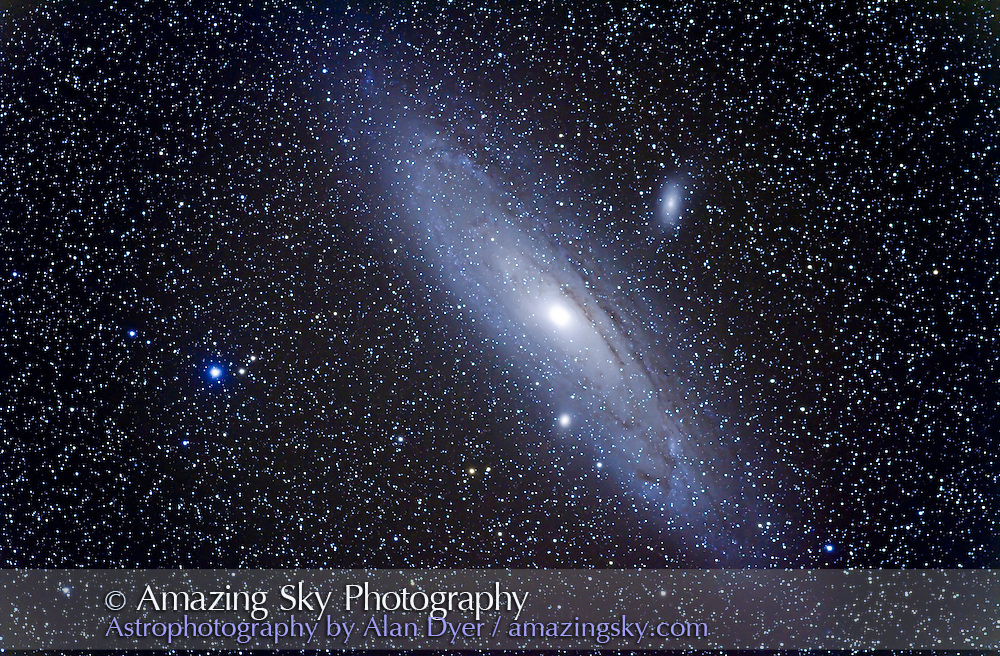 M31 Andromeda Galaxy. Taken Oct 30, 2010 with 77mm Borg apo refractor at f/4 with Canon 7D at ISO 800 for stack of 4 x 10 minute exposures, Mean combined. Used AP Mach 1  mount and StarShoot guider on Borg 50mm guidescope and Toshiba netbook with PHD Guider 1.12. All seemed to work well.