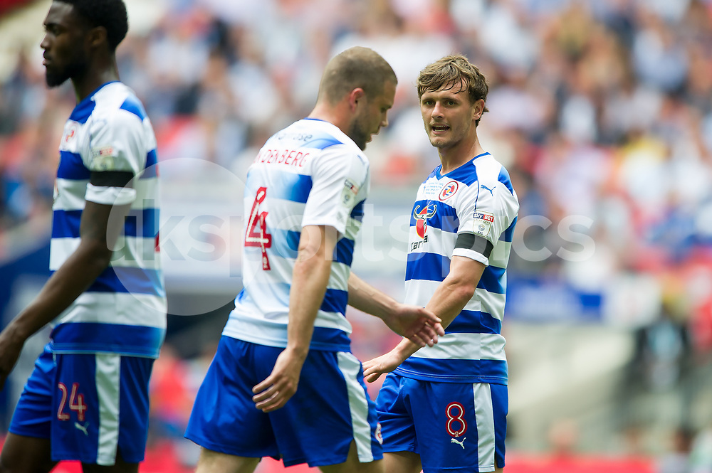 John Swift of Reading during the EFL Sky Bet Championship Play-Off Final match between Huddersfield Town and Reading at Wembley Stadium, London, England on 29 May 2017. Photo by Salvio Calabrese.