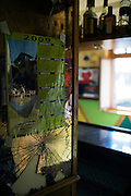 """A broken mirror after the attack of a man to the """"Herriko Taberna"""" in Lzakao on Thursday, February 26, 2009. Photographer: Markel Redondo/Fedephoto."""