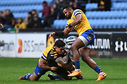 Wasps centre Malakai Fekitoa (13) spills possesionduring the Gallagher Premiership Rugby match between Wasps and Bath Rugby at the Ricoh Arena, Coventry, England on 2 November 2019.
