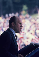 President Gerald Ford campaigning for the presidency in Charlotte, NC on May 21 1975<br /> Photo by Dennis Brack