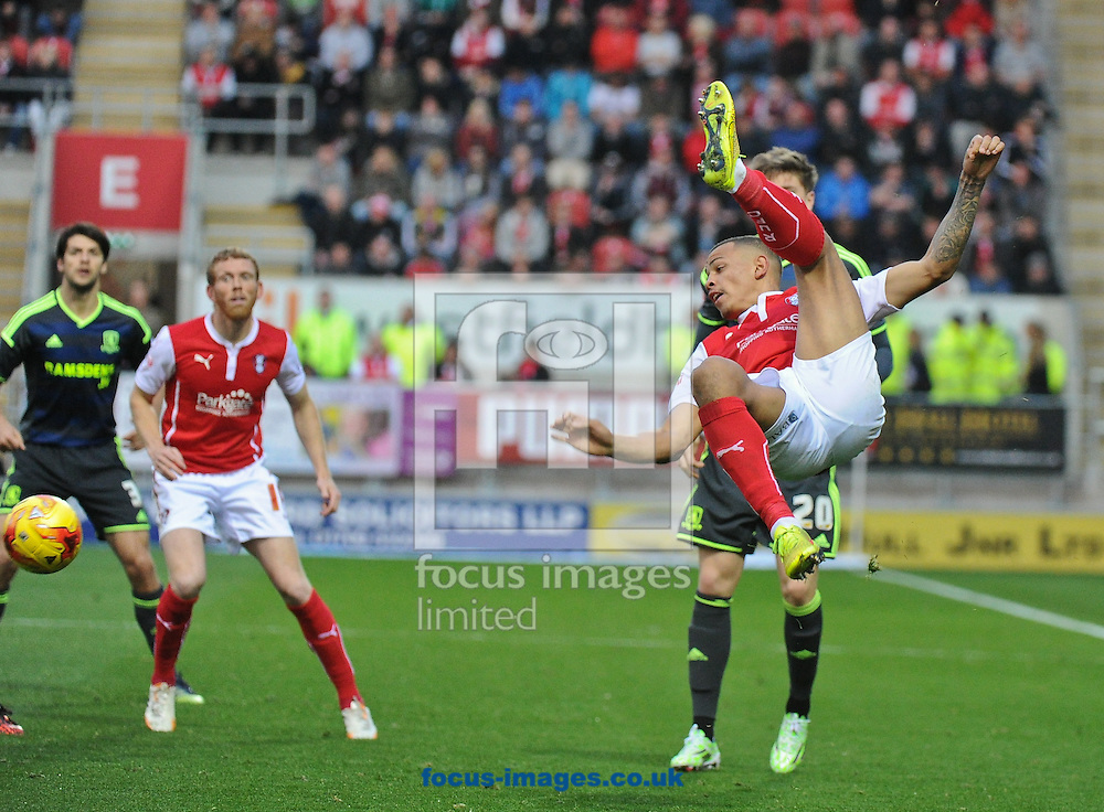 Jonson Clarke-Harris of Rotherham United tries a spectacular clearance which goes horribly wrong during the Sky Bet Championship match at the New York Stadium, Rotherham<br /> Picture by Richard Land/Focus Images Ltd +44 7713 507003<br /> 01/11/2014