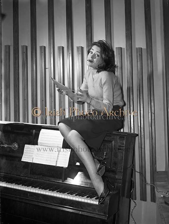 "8/12/1960<br /> 12/08/1960<br /> 08 December 1960<br /> Rehearsal for new musical ""The Crooked House"" at Busaras Theatre, an Eamonn O Higgins production,<br /> Director J Hole. Image shows Actress Angela Nolan, playing a witch. pictures to illustrate feature by Mr. Pendlebury, Daily Mail."