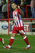 Billy Kee scores within 10 minutes for Accrington Stanley during the Sky Bet League 2 match between Accrington Stanley and AFC Wimbledon at the Fraser Eagle Stadium, Accrington, England on 20 October 2015. Photo by Stuart Butcher.