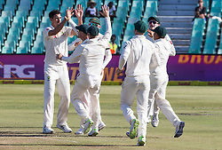 Durban. 020318. Mitchell Starc of Australia celebrates the wicket of Theunis de Bruyn of the Proteas with his team mates during day 2 of the 1st Sunfoil Test match between South Africa and Australia at Sahara Stadium Kingsmead on March 02, 2018 in Durban, South Africa. Picture Leon Lestrade/African News Agency/ANA